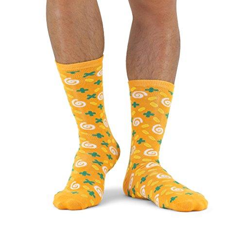 Luckies of London Soup Socks Graciosos Calcetines de Hombre y Mujer, Zanahoria y Cilantro, Algodón, Amarillo, 0.5x16x34 cm