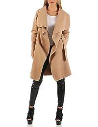 Damen Mantel knielang, Trenchcoat mit Taschen und Taillengürtel ( 542 )