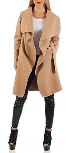 Damen Mantel knielang, Trenchcoat mit Taschen und Taillengürtel ( 542 ),Camel,L / 40