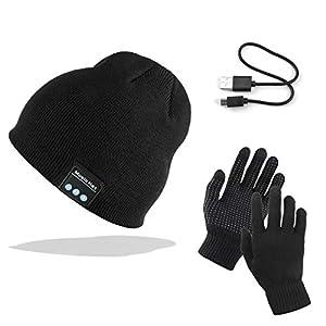 TAGVO Bluetooth V5.0 Beanie mit Touchscreen Handschuhen Set, Winter Warm Gestrickte Drahtlose Bluetooth Headset Musik Hut für Laufen Skifahren Wandern