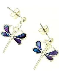 Schöne natürliche lila Abalone Muschel Dragonfly Earrings In Gift Box - D