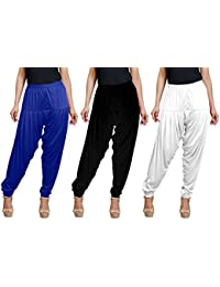 Goodtry Women's Viscose Patiala Free Size Pack Of 3 Black,White, Royal Blue