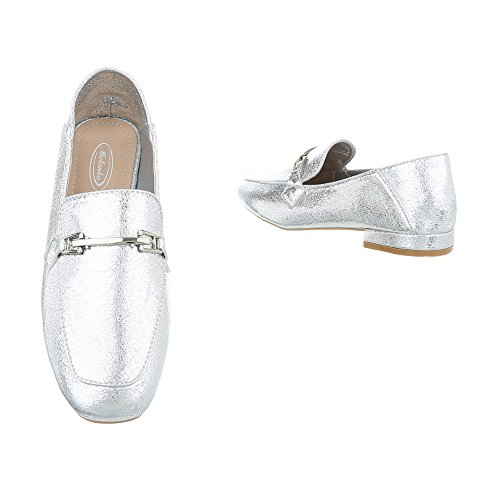 Ital-design Pantofola Scarpe Da Donna Tacco Basso Tacco Moderno Scarpe Basse Argento 266-3