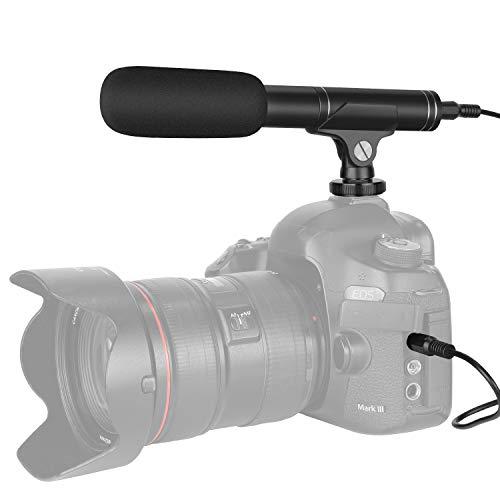 Neewer Microfono a Condensatore Cardioide & Omnidirezionale per Reflex Canon Nikon Sony Panasonic iPhone Samsung Huawei Smartphone con 3,5mm Connettore & Cavo TRS a TRRS