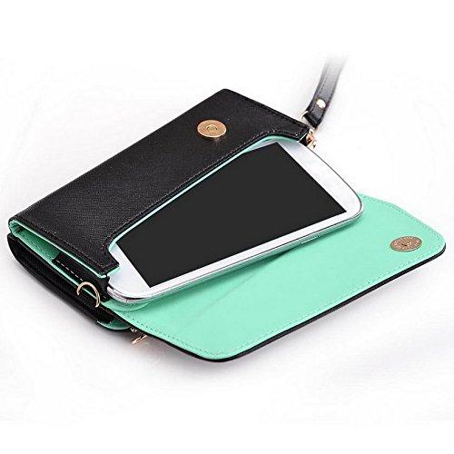 Kroo d'embrayage portefeuille avec dragonne et sangle bandoulière pour Smartphone Sony Xperia E1 Multicolore - Black and Orange Multicolore - Black and Green