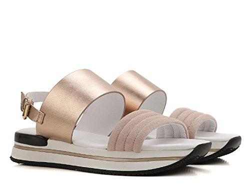 Sandales plates Hogan en cuir lamé et velours rose pâle - Code modèle: HXW2570X750Q250PX1 Rose pâle
