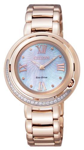 Citizen EX1122-58D – Reloj analógico de cuarzo para mujer, correa de acero chapado en oro multicolor