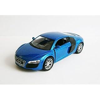 Anik-Shop Audi R8 V 10 Modellauto 4 Farben Metall Modell Auto Spielzeugauto Welly 76 (Blau-Metallic)