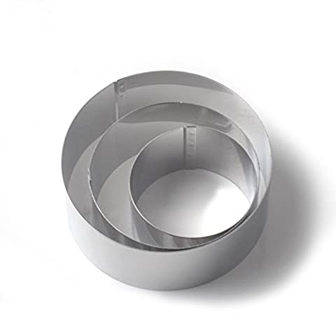 3 Piece Mousse Cake Ring Mould, Guowall Mousse Mould Cake Forming Rings Round Cutter Set Dessert and Cooking Rings Cookie Cutter Biscuit Mold Stainless Steel Round