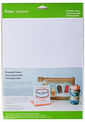 Cricut Printable Fabric, White, 8.5 x 11 -Inch, Sheets of 2