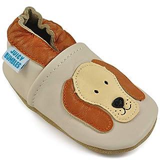 Juicy Bumbles - Weicher Leder Lauflernschuhe Krabbelschuhe Babyhausschuhe mit Wildledersohlen. Junge Mädchen Kleinkind- Gr. 0-6 Monate (Größe 19/20)- Kleiner Hund