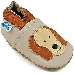 Juicy Bumbles - Weicher Leder Lauflernschuhe Krabbelschuhe Babyhausschuhe mit Wildledersohlen. Junge Mädchen Kleinkind- Gr. 18-24 Monate (Größe 24/25)- Kleiner Hund