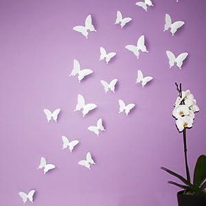 Wandkings Schmetterlinge im 3D-Style in WEIß, 12 Stück, Wanddekoration mit Klebepunkten zur Fixierung