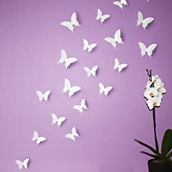 Wandkings 3D Style Butterflies in WHITE for wall decoration, 12 PCS in a set with adhesive fixing do