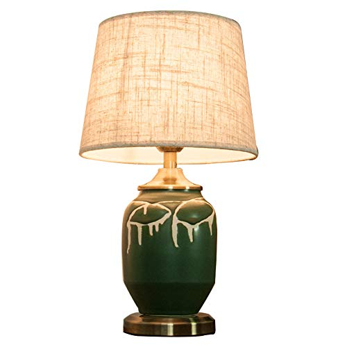Deevin Mid Century Keramik Schreibtischlampe - Im EuropäIschen Stil Handgefertigt FüR Das Wohnzimmer, Nachttisch, Schlafzimmer - Leinen Lampenschirm Augenschutz, Retro GrüN -