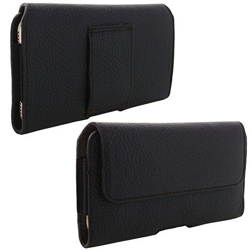 XiRRiX Echt Leder Handy Tasche 2.4 4XL Gürteltasche passend für HTC U11+ U12+ / Huawei Honor 7X 8X / P20 Pro/Mate 20 Lite - schwarz