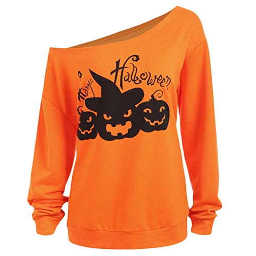KPPONG Halloween Kostüm Damen Schulterfrei Kürbis Muster Pullover Orange Sweatshirt Locker Pulli Blusen (Lustig Einfache Gruppe Kostüm)