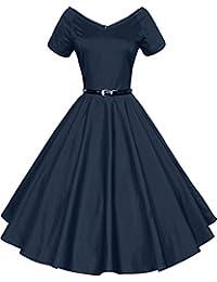 Gigileer Rétro Vintage années 50 's Style Audrey Hepburn Rockabilly Swing, Robe de Bal à Manches Courtes avec Ceinture
