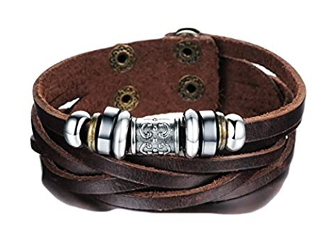 SaySure - Trendy Brown Leather Bracelet & Bangle Men