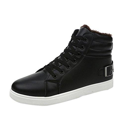 Transer® 2017 Hombres tobillo botas forradas de piel calida Martin botas zapatos invierno Otoño (43, Black)