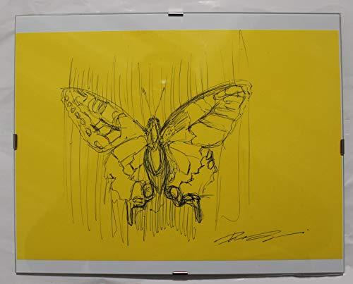Zeichnung Studio (Schmetterling,Studio-Zeichnung in schwarzer Feder auf gelbem Papier, innerhalb eines Tagestages in der Größe cm 30x24 cm Handgefertigt in ITALIEN Toskana Lucca, erstellt von Davide Pacini)