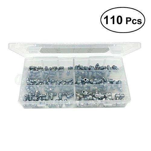 UKCOCO Hydraulikfett-Fitting-Kit Ersatzfettnippel-Fitting Sortimentssatz 110 in 1 (Silber) (Metrische Lager)