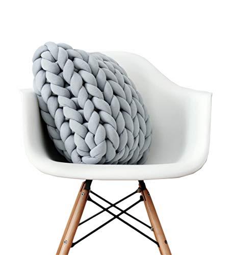 SINBROL Knot - Cuscino per Divano, con Nodi, a Maglia, Effetto Tessuto Nordico, Facile da Usare, Realizzato a Mano, Grau, 40 * 40cm