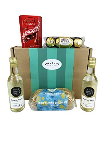 White Wine & Chocolate Hamper - 2 Small White Wines, Lindt Lindor Chocolates, Ferrero Rocher & Premium Chocolate Chip Biscuits - Hamper Exclusive To Burmont's