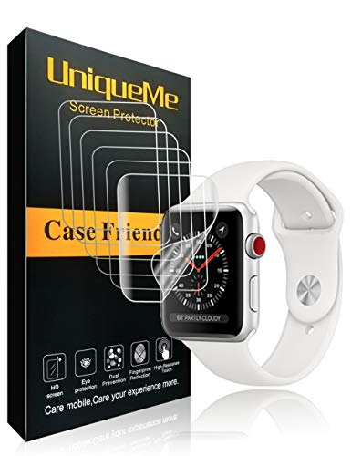 UniqueMe kompatibel für [6 Pack] Apple Watch Series 4 40mm / Series 3/2/1 38 mm Schutzfolie, [Blasenfrei] [Vollständige Abdeckung] Soft HD Durchsichtiger, Flexibler Film