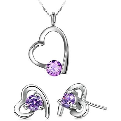 Vmculb Mujer Juegos de Joyas Chapado en Plata Collar y Pendientes de Mujer Corazón Cristal Austriaco Púrpura CZ Cubic Zirconia 2 Piezas