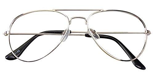 KINDOYO Kinder Jungen Mädchen Vintage Pilotenbrille Metallrahmen Nerdbrille Sonnenbrille Retro SonneBrille Kein Objektiv Brillen Rahmen , Silber (keine Linse)
