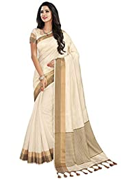 Roop Kashish Women's Bhagalpuri Cotton & Art Silk Saree With Blouse Piece (RKRGRSP1257_F_Off White)