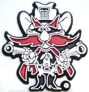 Texas Tech University Red Raider Mascot Chrome Auto Emblem by Eleltroplate