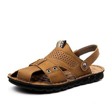 Los hombres sandalias Verano Zapato Abierto / sandalias de cuero talón plano Casual Otros Negro / amarillo / Caqui caminando US6-6.5 / EU38 / UK5-5.5 / CN38