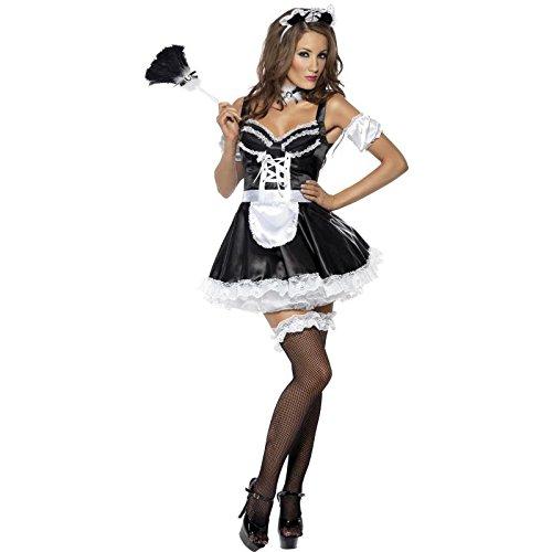 Fever Kollektion French Maid Kostüm mit Kleid Haarreifen und Ärmeln, Large