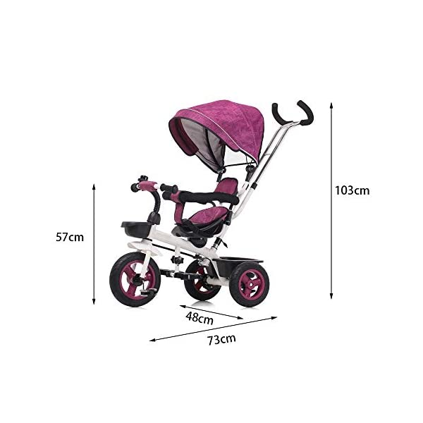 LRHD 4-in-1 Light Steel Adjustable Convertible Tricycle Stroller with Adjustable Push Handle, Detachable Ceiling, Retractable Pedal, Lockable Pedal, Detachable Guardrail, Children's Birthday Gift LRHD 1. 4-in-1 tricycle: easy to switch between the four modes and easy to disassemble and install all components. This tricycle can grow up with a child aged 10 months to 5 years old, which is a rewarding investment for your child's childhood. Our four-in-one tricycle will be one of your children's fond memories of childhood. 2. Convenient for parents: when children cannot ride independently, parents can easily use the push handle to control the steering and speed of the tricycle. The height of the push handle can be adjusted to meet the different needs of parents. The push handle is also detachable, allowing children to enjoy free rides. 3. Ensure safety: Considering the safety of children when using, we have made many detailed safety designs. There is a detachable sponge guardrail on the seat, which can also be opened to let children get on the bus. The additional vertical safety belt can not only prevent the child from falling down, but also cover the button to avoid injury to the child. 2