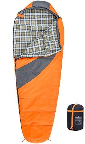 MOUNTREX Schlafsack für Camping, Wandern und Backpacking; wasserabweisender, koppelbarer Outdoor Mumienschlafsack mit Kapuze & Kragen; 220x80 cm, orange (Xxl Rucksack-schlafsack)