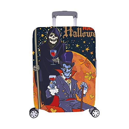 (Nur abdecken) Tod Skelett Dracula Vampir auf Full Pattern Staubschutz Trolley Protector case Reisegepäck Schutz Koffer Abdeckung 28,5 X 20,5 Zoll