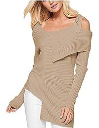 0b72d72e878746 ZIYOU Damen Sling Bogen Sweatshirt Einfarbig, Mode Langarm T Shirt Slim fit  Oberteile Bluse