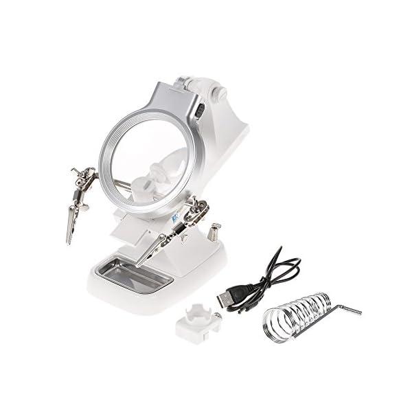 KKmoon 3X/4.5X Lupa LED Soldadura con Sostenedor Clip Cocodrilo Clamp Reparación