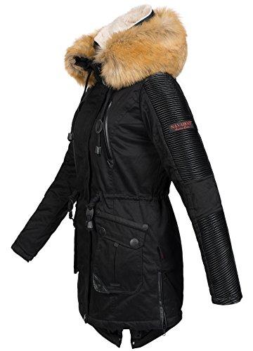 Navahoo Damen Winter Jacke Winterjacke Teddyfell warm gefüttert Kunstleder Einsätze B400 Schwarz