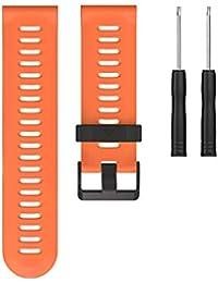 GROOMY Bracelets de Montres pour Garmin Fenix 3 Bracelet de Remplacement en Silicone, Outils de Mode - Orange