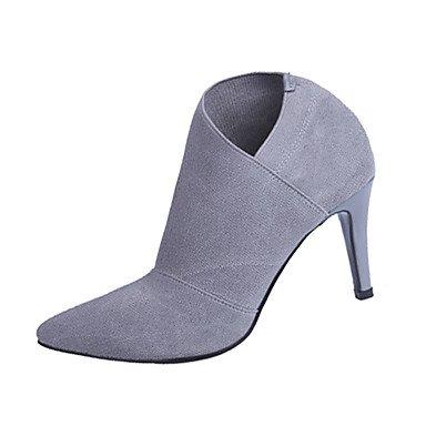 CH&TOU Da donna-Stivaletti-Ufficio e lavoro / Formale / Casual-Others-A stiletto-Tessuto-Nero / Grigio gray