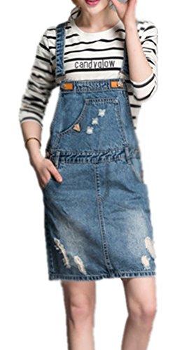 Disco Plus Kleider Size (Foluton Damen Sommer Art und Weise Denim Latzkleid Zerrissenen Jeanskleid Jeans Trägerkleid Party Kleid)