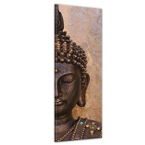 Kunstdruck - Buddha - Bild auf Leinwand - 40 x 120 cm - Leinwandbilder - Bilder als Leinwanddruck - Geist und Seele - Zen Buddhismus