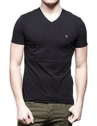 T-shirt Col V Guess Stretch Plain Noir