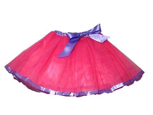 Tanz Lollipop Kostüm - Tante Tina - Tüllrock Lizzie mit Kontrastband und Schleifchen - Tütü Tutu Petticoat Ballettrock - Fuchsia mit lila Band