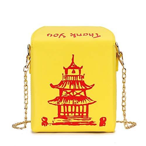 HHdstb Box Design Chinesische Turmdruck Pu Damen Eimer Tasche Kette Umhängetasche Crossbody Mini Umhängetasche Für Frauen Handtasche -