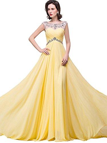 Damen Elegant Chiffon Abendkleid Ballkleid Abschlusskleid Mit Strass Glitzer Abendkleider Gelb Gr.32