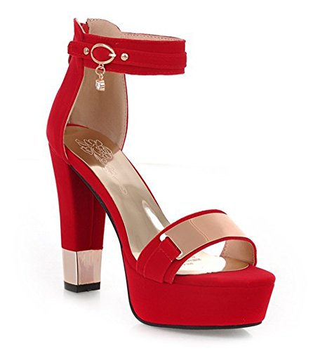 Con Il Ciclo Sandali Metallizzato Rosso Tallone Donna Sexy Aisun Dell'alto 0zYgnRXW